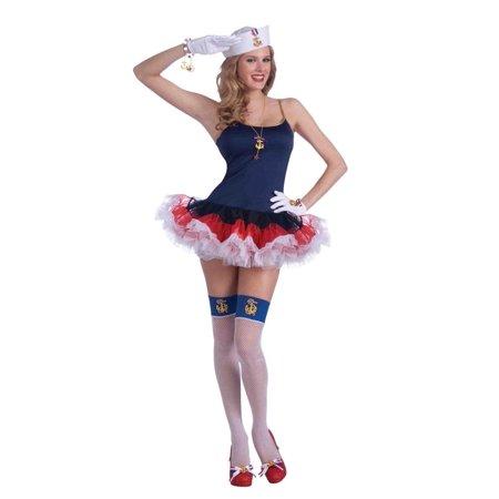 Sexy Lady In The Navy Patriotic Crinoline Costume Slip Dress One Size