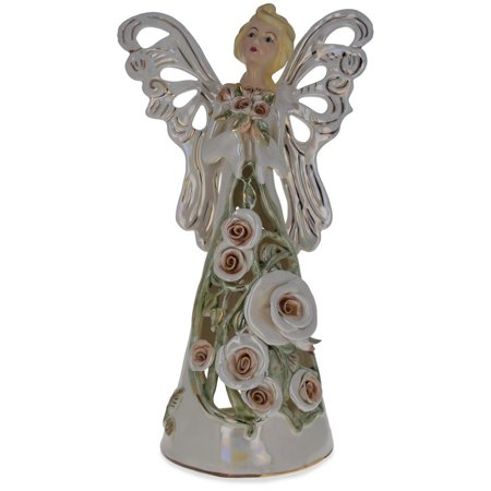 Guardian Angel Tea Light Porcelain Angel Figurine 14 Inches