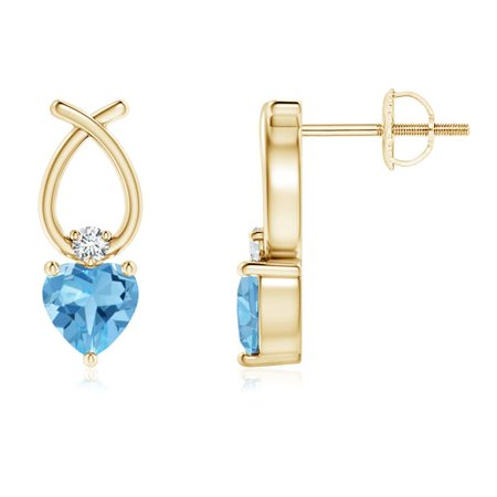 Mother's Day Jewelry Sale - Heart Shaped Swiss Blue Topaz Ribbon Earrings in 14K Yellow Gold (4mm Swiss Blue Topaz) - SE0964SBTD-YG-AA-4 14k Gold Ribbon Earrings