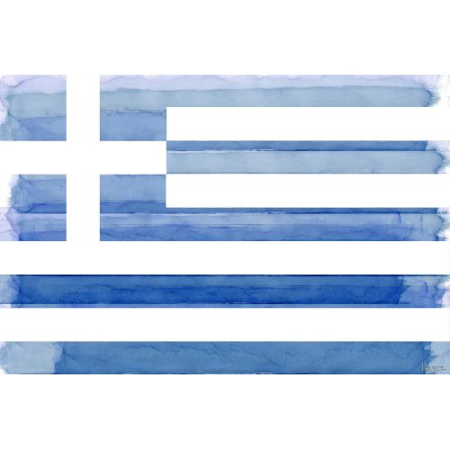 Parvez Taj Greek Flag Art Print on Premium Canvas by Parvez Taj