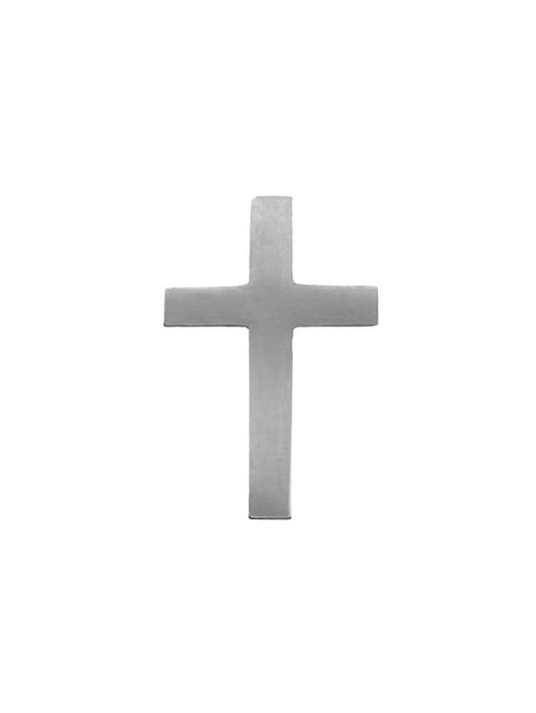 14K White Gold Cross Polished Pin Brooch by