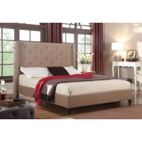 "HomeLife® 48"" Light Brown Linen Headboard & Platform Bed"