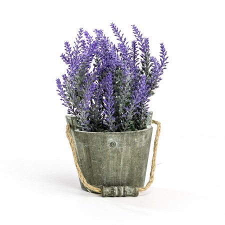 Vintage A Bouquet of Artificial Lavender Flowers Faux Plants Potted in a Rustic Gray Wooden Planter Pot Garden Bucket ()