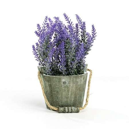 (Vintage A Bouquet of Artificial Lavender Flowers Faux Plants Potted in a Rustic Gray Wooden Planter Pot Garden Bucket)
