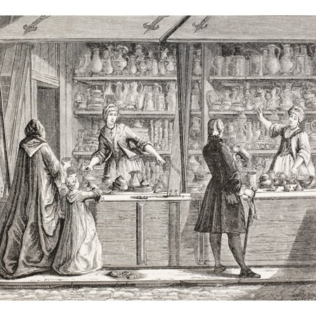 A Shop Selling Pottery And Pewter Ware In Paris, France, During The 18Th Century. From Xviii Siecle Institutions, Usages Et Costumes, Published Paris 1875. PosterPrint - Item # VARDPI1904370 Pewter Raised Design