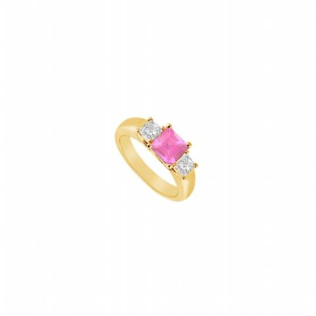 Three Stone Pink Sapphire & Diamond Ring 14K Yellow Gold, 0.50 CT - Size 8