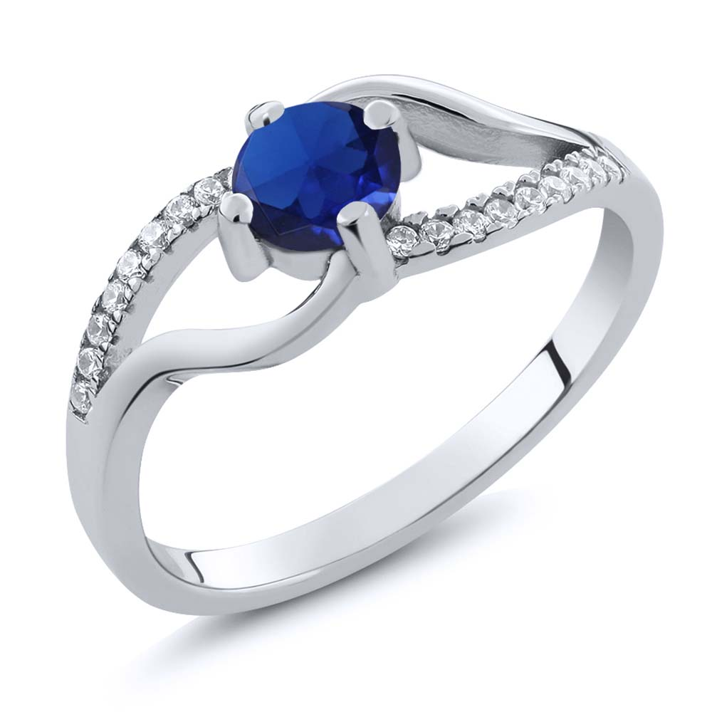 0.77 Ct Round Blue Simulated Sapphire 925 Sterling Silver Ring