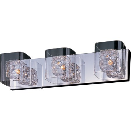 ET2 Lighting E22833-18SVPC Gem - Three Light Bath Vanity, Polished Chrome Finish with Clear Glass with Silver -
