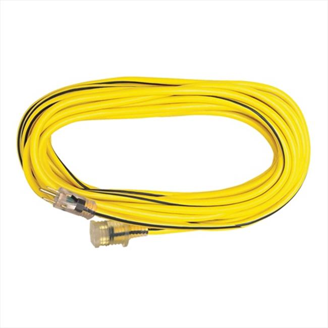 Voltec 05-00350 50 ft. SJTW Outdoor Extension Cord With Lighted End - Yellow-Black, Case Of 1