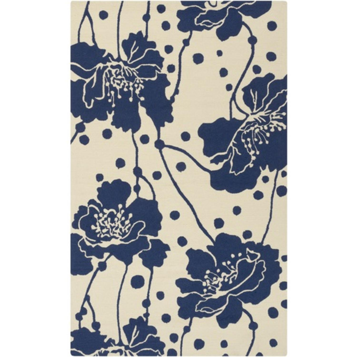 2' x 3' Hibiscus Hopes Midnight Blue and Eggshell Outdoor Safe Area Throw Rug