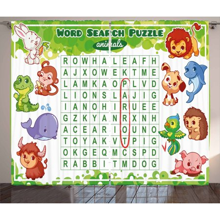 Printable Halloween Puzzle Worksheets (Word Search Puzzle Curtains 2 Panels Set, Educational Game for Kids Children Cute Sweet Animals Worksheet Print, Window Drapes for Living Room Bedroom, 108W X 108L Inches, Multicolor, by)