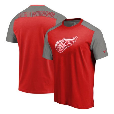 Detroit Red Wings Fanatics Branded Iconic Blocked T-Shirt - Red/Heathered Gray Autographed Red Wings Puck