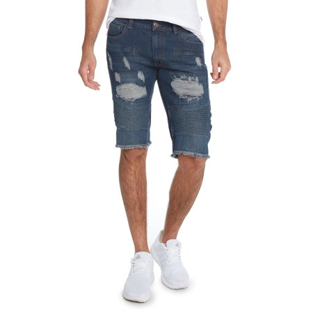 Men's 5 Pocket Distressed Denim RD Shorts by 9 Crowns Denim Five Pocket Shorts