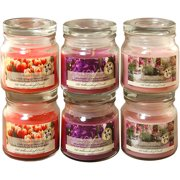 Floral Collection Scented Candles, 2.5 oz Apothecary Jar, Set of 6