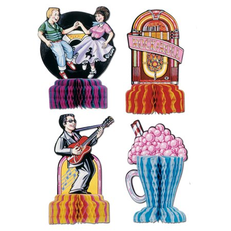 Club Pack of 48 Fabulous 50's Rock & Roll Mini Centerpiece Decorations 5
