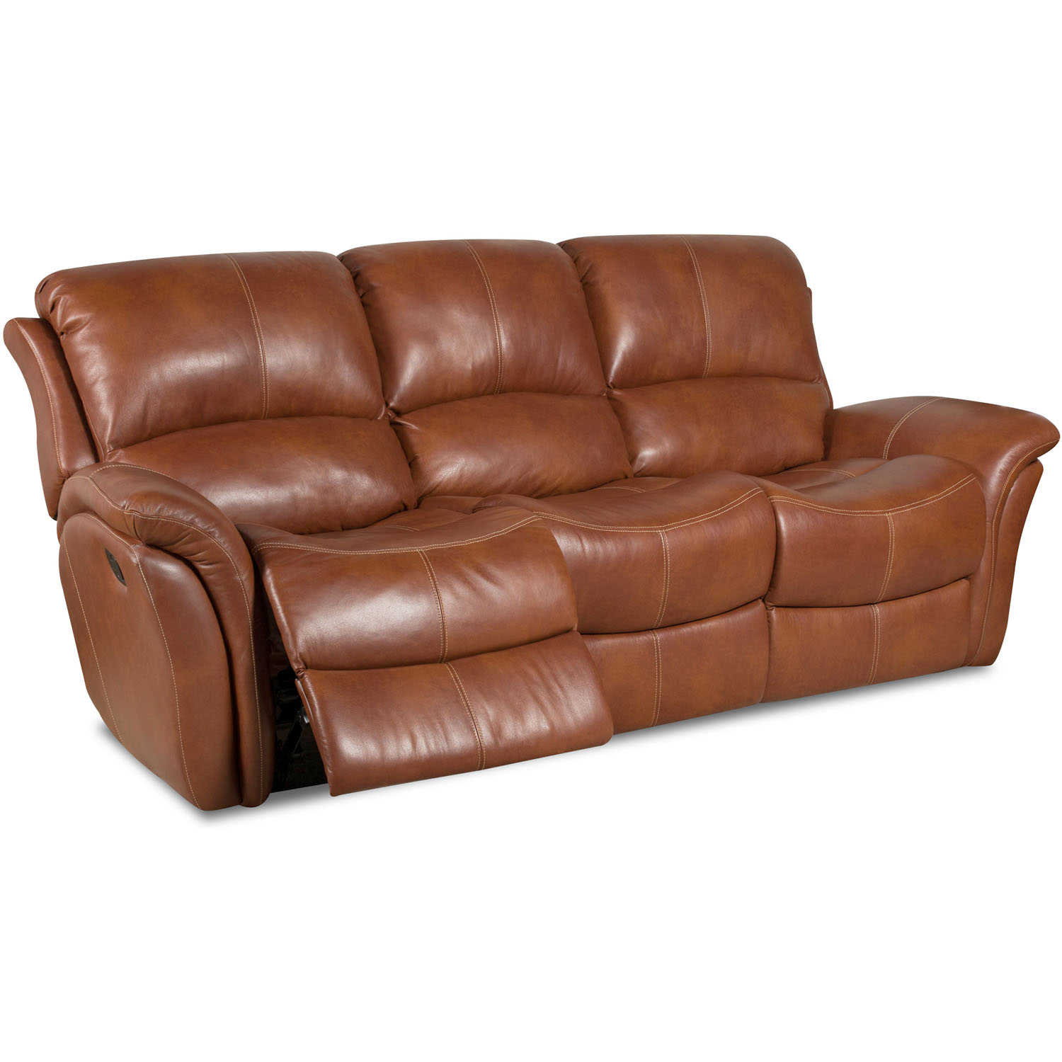 Cambridge Appalachia Leather Double Reclining Sofa in Old Gold