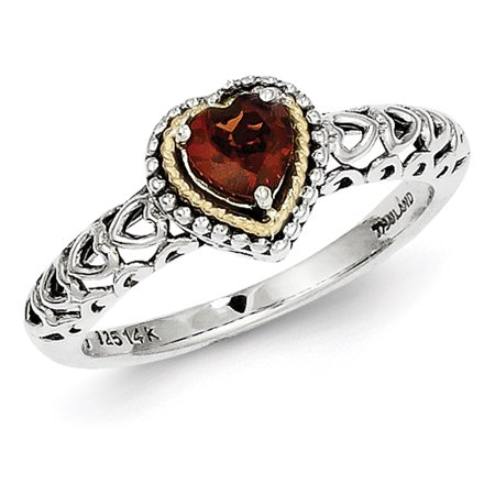 14k Yellow Gold w/Sterling Silver Garnet Ring LAL93405