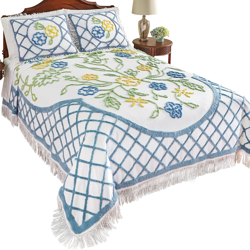 Flower Garden Vintage Look Cotton Chenille Bedspread w/ Fringe Trim, King, Multi