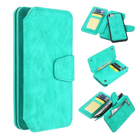 3-IN-1 Luxury Coach Series Leather Wallet with Detachable Magnetic Case for iPhone 8 / 7 / 6S / 6 - Teal Green ()