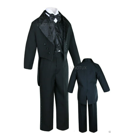Altotux INFANT TODDLER & BOY WEDDING PARTY FORMAL TAIL TUXEDO BLACK S M L XL 2T 3T-20 - Tail Tuxedo