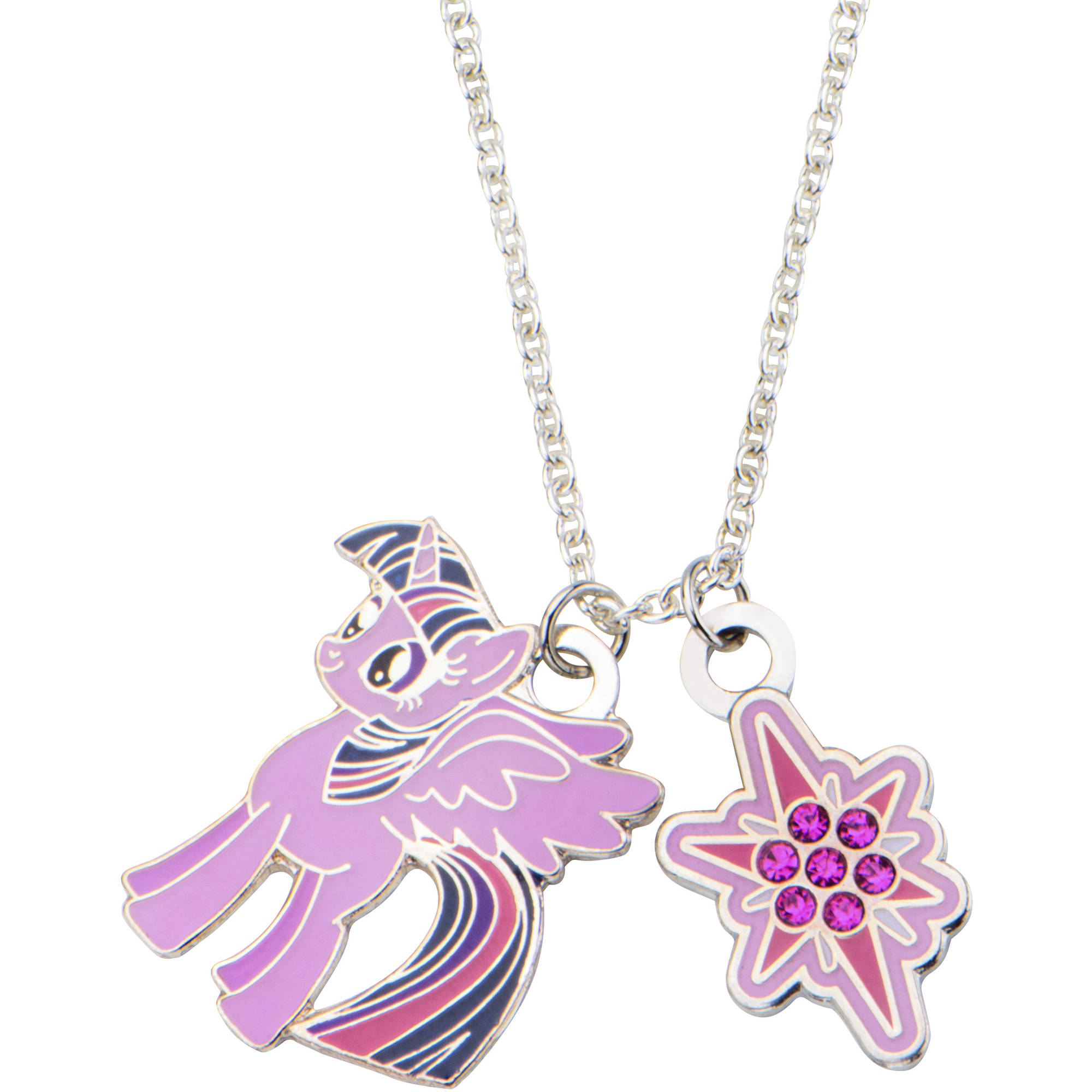 "My Little Pony Kids' Fine Silver-Tone Twilight Sparkle Pendant, 16"" Chain"