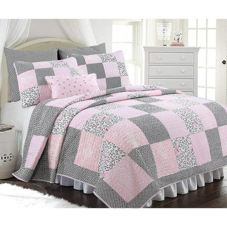 Cozy Line Emerson 3-piece Patchwork Reversible Cotton Quilt (Quilt Liner)