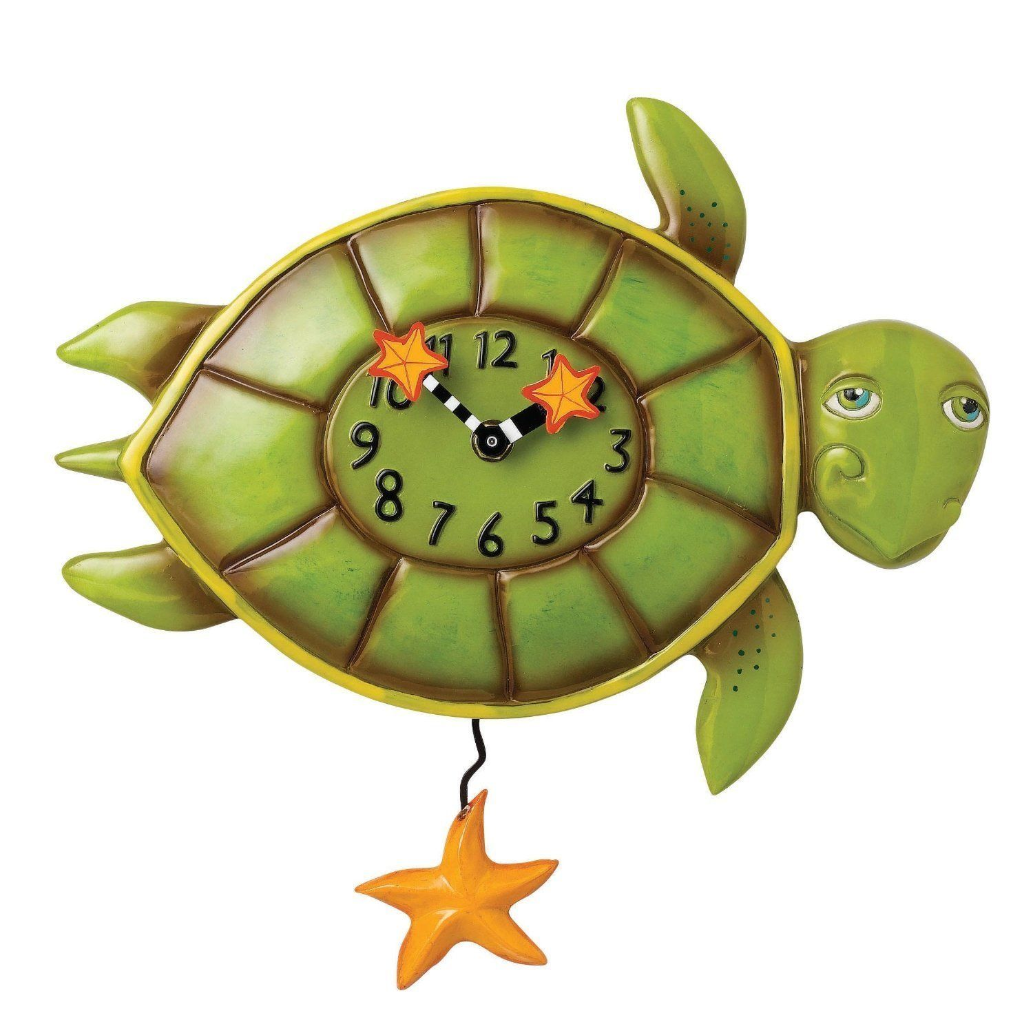 Allen Designs Shelldon the Turtle Pendulum Childs Kids Whimsical Wall Clock