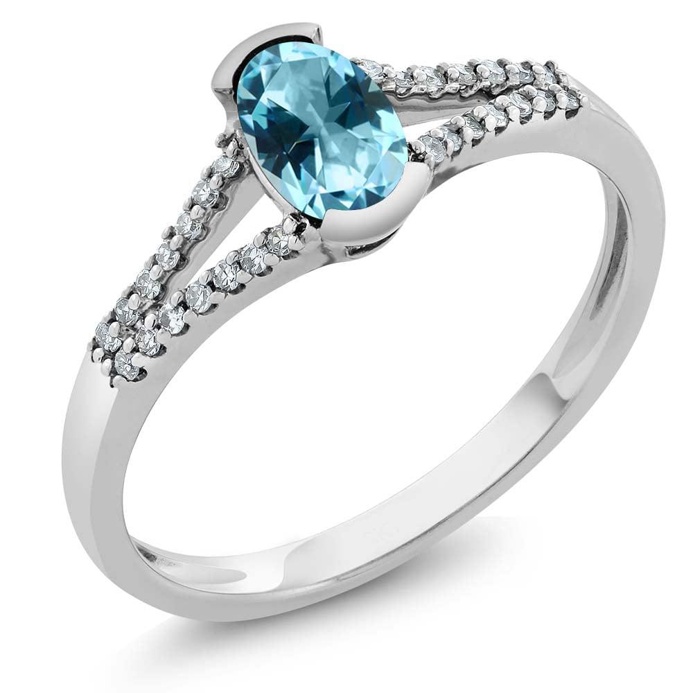 10K White Gold Diamond Ring Set with Oval Ice Blue Topaz from Swarovski by