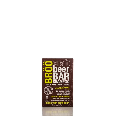 BROO Craft Beer Energizing Shampoo Bar, Hair and Body, 5.25 (Stegmaier Beer)