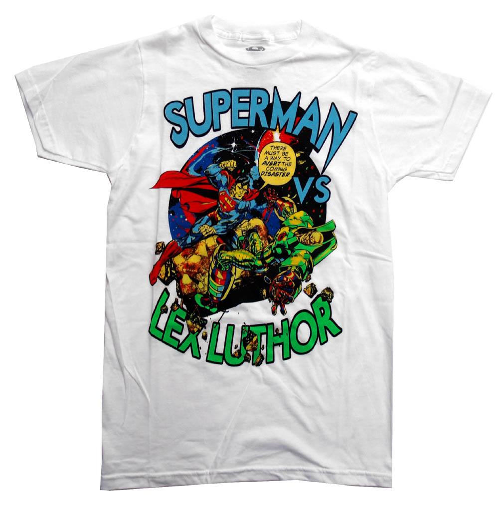 Superman Vs Lex Luthor DC Comics Cartoon Superhero Adult T-Shirt Tee - image 1 of 1
