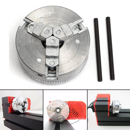 Metal 3 Jaw Self-Centering Lathe Chuck M12*1 45mm For Mini 6 in 1 Lathe +Two Lock Rods (Lathe Chuck Key)