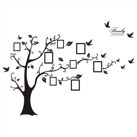 Huge Black Family Tree Photo Frame Wall Decal