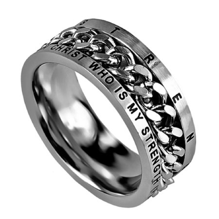 PHILIPPIANS 4:13 HIS STRENGTH Bible Quote, Stainless Steel Chain Spinner Ring