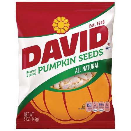 DAVID Roasted and Salted Pumpkin Seeds, 5 oz
