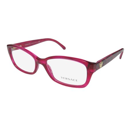 851cbf84a92 New Versace 3207 Womens Ladies Cat Eye Full-Rim Raspberry   Glitter Cheetah  Print Frame Demo Lenses 52-16-140 Spring Hinges Eyeglasses Spectacles -  Walmart. ...