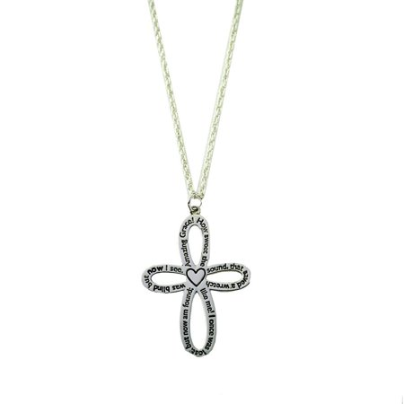 "Inspirational ""Amazing Grace"" Cross Silvertone Necklace in Gift Box"