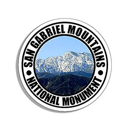 Round SAN GABRIEL MOUNTAINS National Monument Sticker Decal (travel rv california ca) Size: 4 x 4 inch