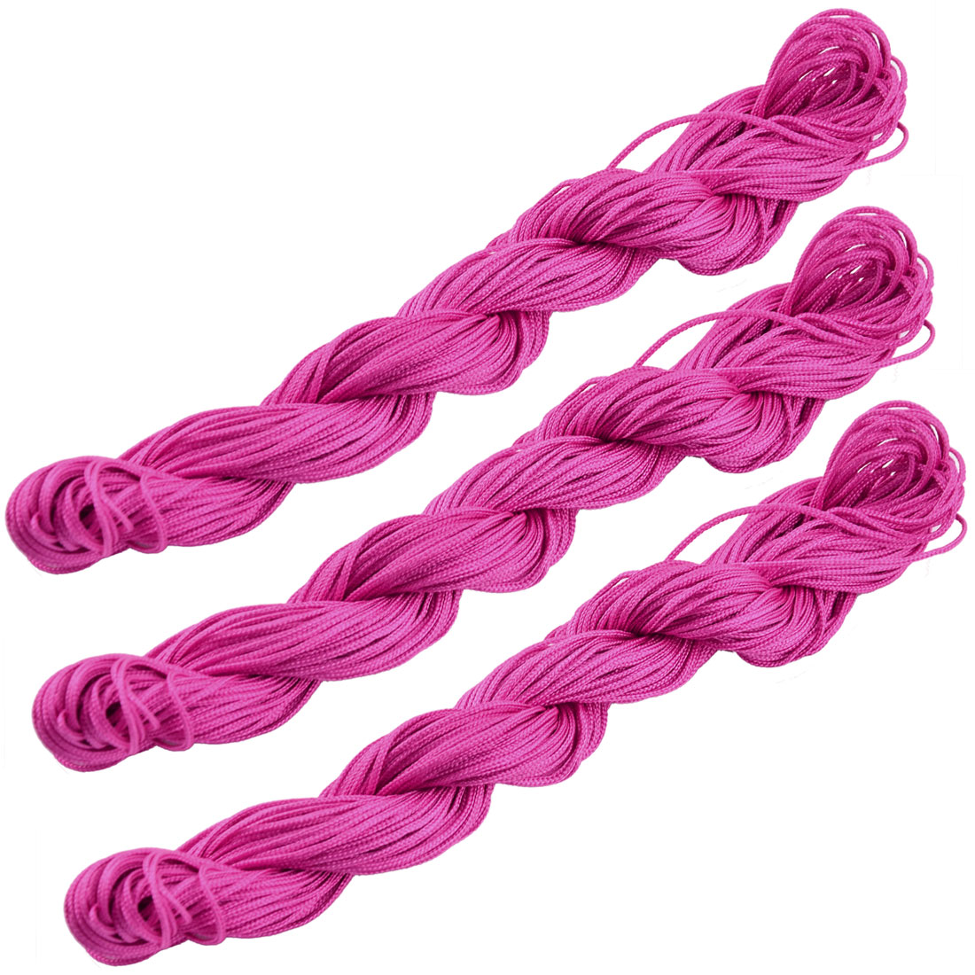 Unique Bargains Polyester Craft Chinese Knot Jewelry Making Rattail Cord Fuchsia 31 Yards 3pcs