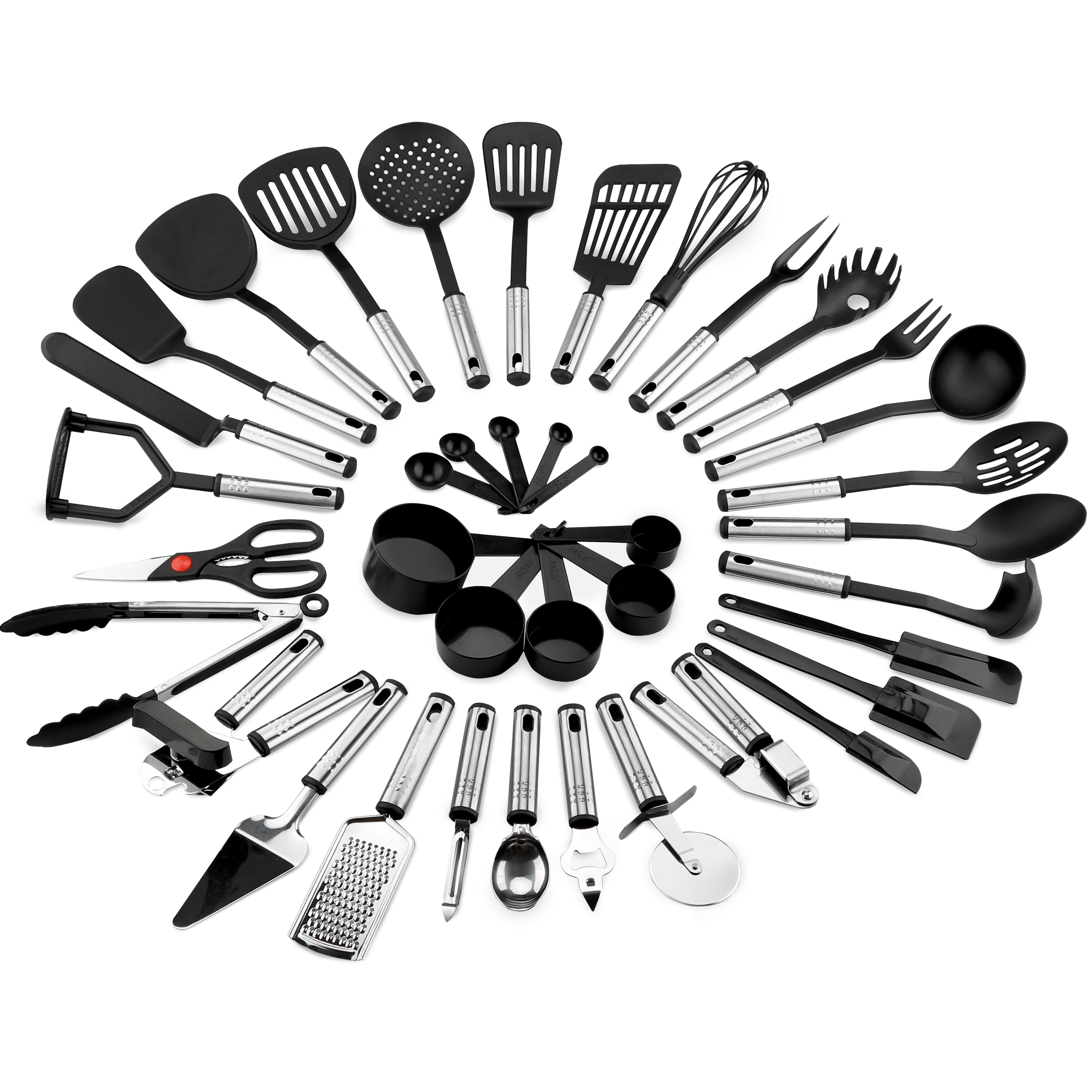 Best Choice Products 39-Piece Stainless Steel Cooking Utensil Set - Black/Silver