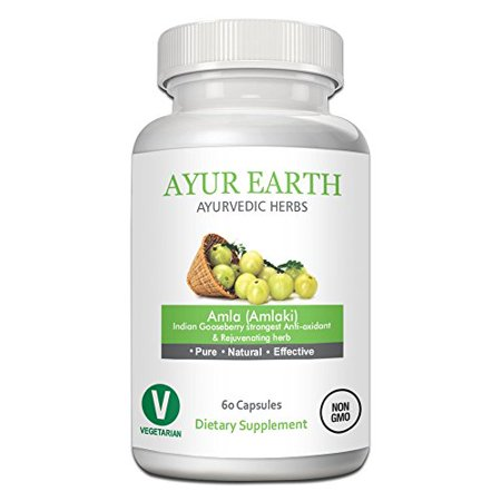 Pure Amla Powder - Ayurvedic Amlaki Pills - Indian Gooseberry (Amla Fruit) Extract - Raw Superfood - Boost Your Immune System - for Anti-Aging, Hair, Skin & Nail Health - 30 Day Supply (60