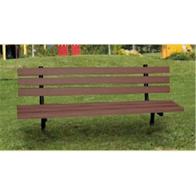 Engineered Plastic Systems GSLB8-IGM 8ft Garden Bench in Choc. Brown with Steel Legs- INGROUND by