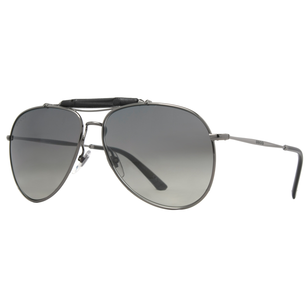 2cf12f4559df7 GUCCI - Gucci GG 2235 S 0KJ1 Silver Metal Black Bamboo Aviator Unisex  Sunglasses - Walmart.com