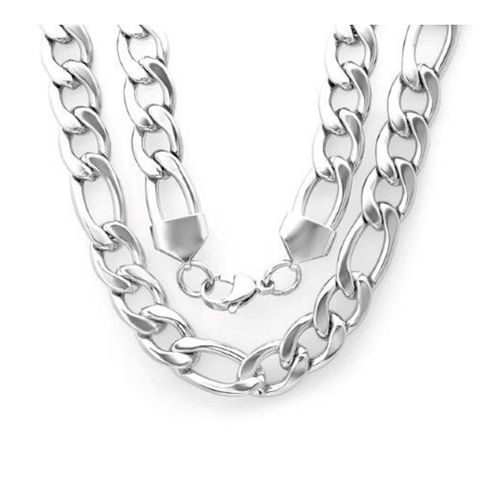 "24"" Heavy Stainless Steel Figaro Chain Necklace with Lobster Clasp (1/2"" Wide)"