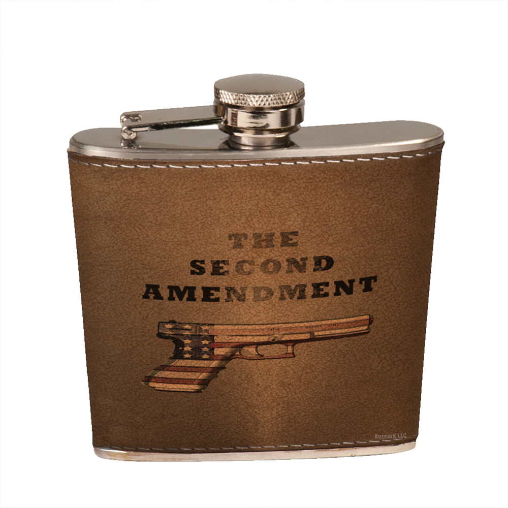 f719c0cb0ba8 Leather Flask Set in Black Presentation Box - Second Amendment American  Flag Pistol - Walmart.com