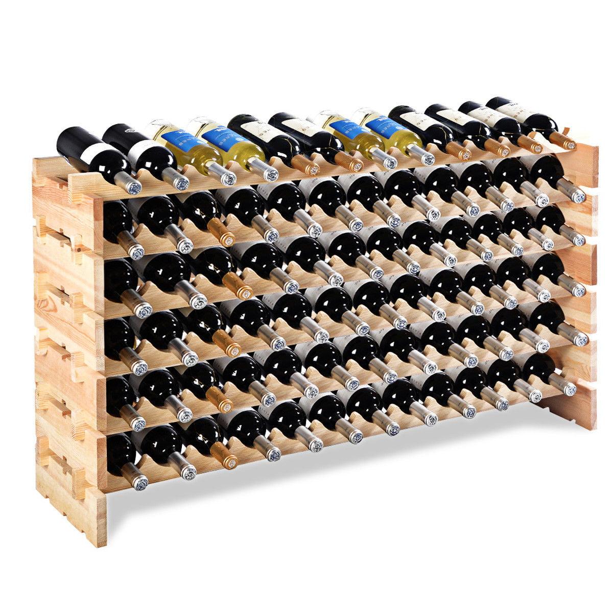 Costway 72 Bottle Wood Wine Rack Stackable Storage 6 Tier Storage Display Shelves