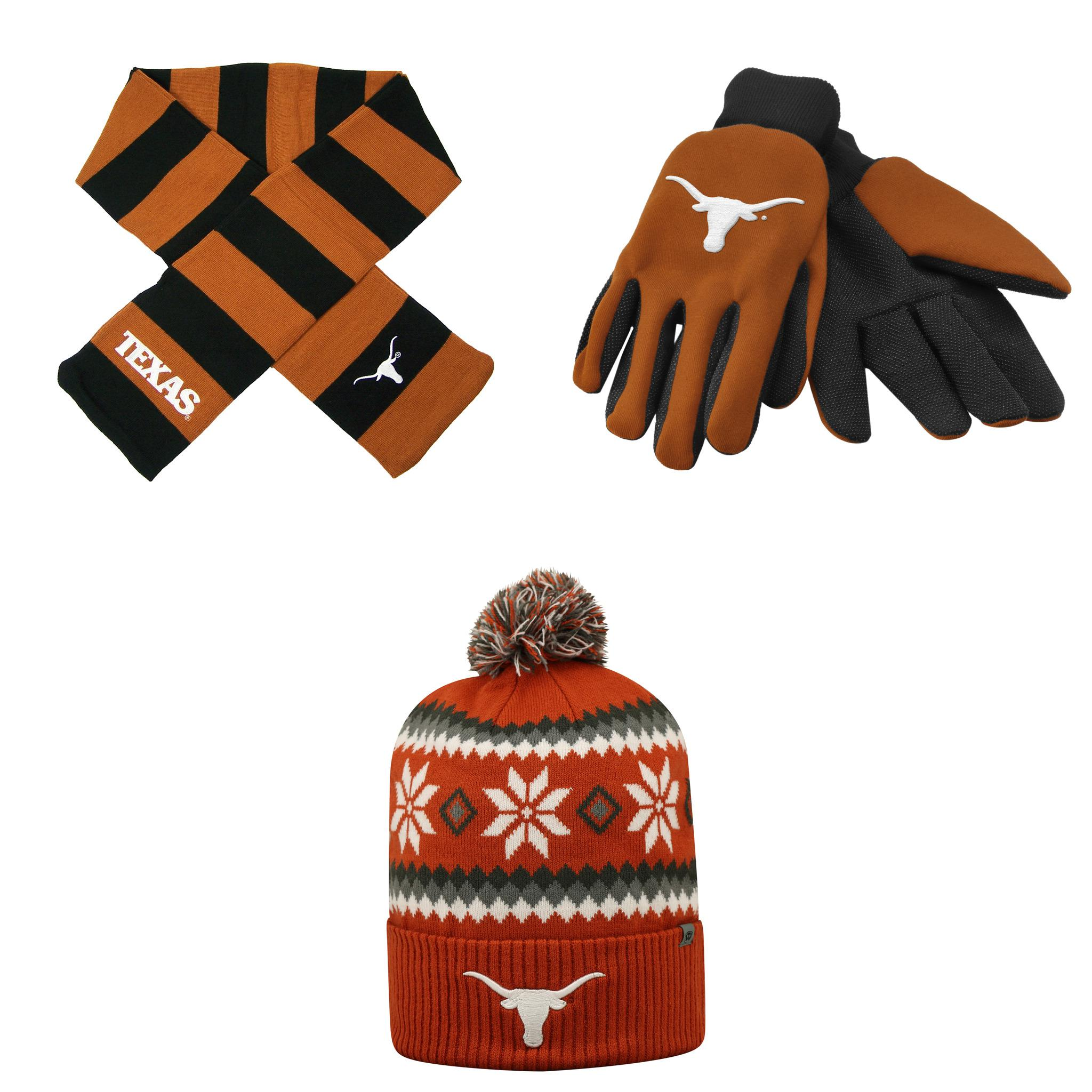 NCAA Texas Longhorns Fogbow Beanie Hat Grip Work Glove And Striped Rugby Scarf 3 Pack Bundle