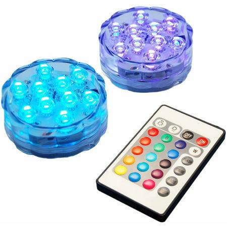 Remote Light Set - LumaBase Multi-Color Remote Control LED Lights, Set of 2