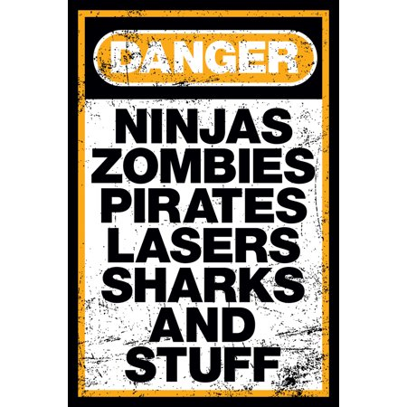 Danger Ninjas Zombies Pirates Lasers Sharks and Stuff Funny Poster 24x36 inch