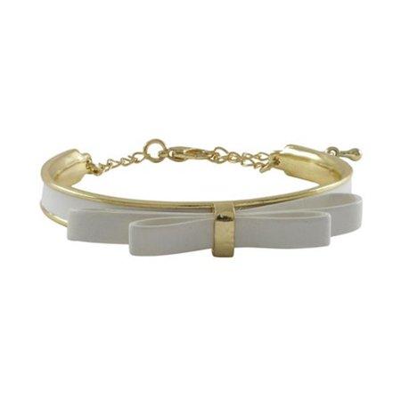 Plated White Enamel - White Bow & White Enamel Gold Plated Brass Bangle Bracelet, 5.5 x 2 in.