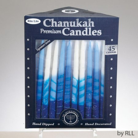 Club Pack of 45 Signature Series Blue and White Chanukah Premium Hand Dipped Candles - Chanukah Candles For Sale